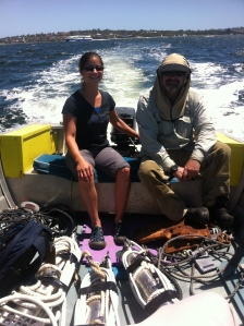 Sylvia and Mal from CMST head out into the Swan River to help deploy my first batch of noise loggers