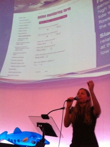 Dr Chandra Salgado Kent explains the online monitoring form at Dolphin Watch training
