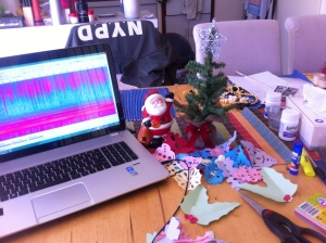 Multi-tasking acoustic research with cutting paper snowflakes!