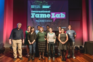 Media trainer Malcolm Love (far left) with some of the FameLab Australia 2015 finalists