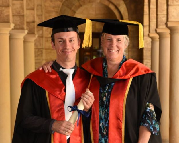 Dr Phil Bouchet and his primary supervisor, Prof Jessica Meeuwig at Phil's graduation ceremony